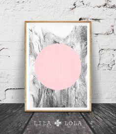 Geometric Print, Marble Print, Pink and Grey Geometric Art, Black and White Decor, Minimal Circle Wall Art, Printable Wall Art, Scandinavian