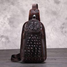 (31.90$)  Know more  - Luxury Brand Designer Alligator Stylish Men Vintage Messenger Bags Male Business Chest Pack Genuine Cow Leather Shoulder Pockets