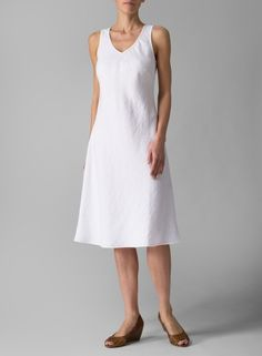 Linen Bias Cut Sleeveless Short Dress White - simple but could be really fun to accessorize