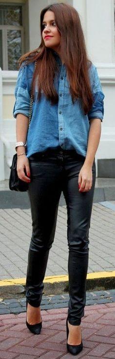Chic leggings + deni shirt   Spring traveling