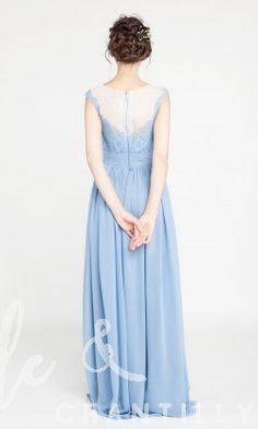 Long Chiffon and Lace Windsor Blue Bridesmaid Dresses with Illusion Neck TBQP404