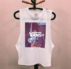 shirt vans hipster muscle tee t-shirt vans warped tour tank top top vans t-shirt vans of the wall vans galaxy white skater skirt skateboard skater girl skater