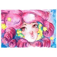 Steven Universe Rose Quartz Watercolor Art Print ($4.99) ❤ liked on Polyvore featuring home, home decor, wall art, water color painting, watercolor painting, watercolor wall art, water colour painting and watercolour painting