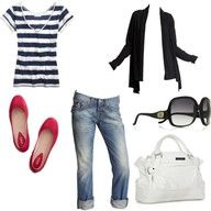 everything about this works - cuffed denim with red flats and stripes, plus oversized shades and a wicked bag