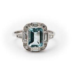 Art Deco style Aquamarine & Diamond 18ct White от McCallsJewellers