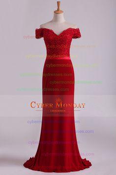 2016 del hombro vestidos de baile Spandex Burdeos / Castaño tren de barrido con apliques