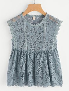 Shop Scalloped Trim Lace Smock Top