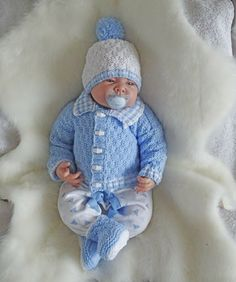 Easy dk knitting pattern instructions to knit baby boys cardigan set george | eBay
