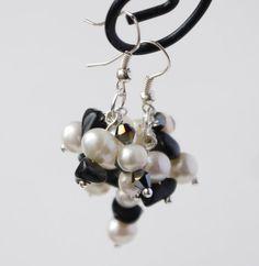 white pearl, black shimmering crystal and black onyx earrings  by PearlsByTabs, $15.00