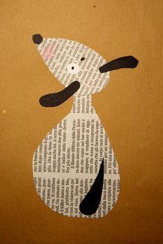 Arts And Crafts App Refferal: 7815660594 Newspaper Collage, Newspaper Crafts, Book Crafts, Collage Art, Fun Crafts, Kunstjournal Inspiration, Art Journal Inspiration, Preschool Art, Animal Crafts