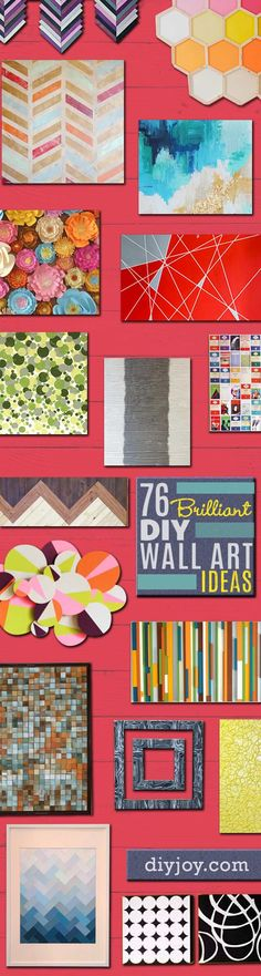 DIY Wall Art Ideas and Do It Yourself Wall Decor for Living Room, Bedroom, Bathroom, Teen Rooms |   Modern, Abstract, Rustic, Simple, Easy and Affordable Wall Art Tutorials   | Cheap Ideas for Those On A Budget. Paint Awesome Hanging Pictures With These Easy Step By Step Instructions for DIY Projects and Home Decor Ideas  |  http://diyjoy.com/diy-wall-art-decor-ideas