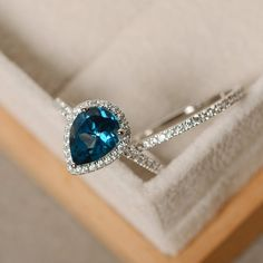 Blue topaz ring pear engagement ring sterling silver pear