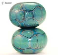 Glass lampwork beads Tortoise Copper Turquoise rounds