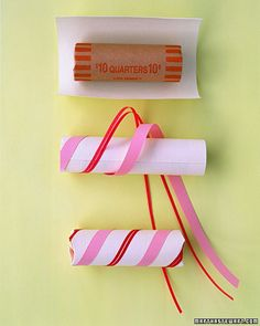 wrap a roll of coins for a stocking stuffer...would be a fun idea with quarters and a coin purse so the kiddos can bring their money to the store and can get a toy from those little machines if they want! Then they have something to look forward to and don't expect a large treat from the store