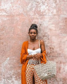 Lovely summer outfit - orange is such a vibrant color Black Girl Fashion, Look Fashion, Feminine Fashion, Black Girls Rock, Black Girl Magic, Black Girl Swag, Skin Girl, Mode Hippie, Outfit Look