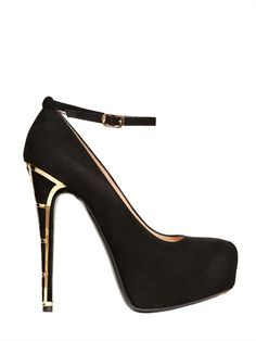 BALLIN - 140MM SUEDE ANKLE STRAP PUMPS - LUISAVIAROMA - LUXURY SHOPPING WORLDWIDE SHIPPING - FLORENCE
