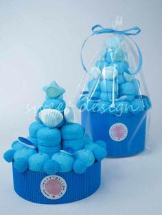 Tarta de chuches color azul