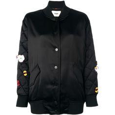 Fendi Satin Jacket ($3,420) ❤ liked on Polyvore featuring outerwear, jackets, black, satin jackets, flight jacket, floral jackets, floral-print bomber jackets and flower print jacket