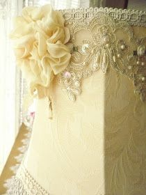 Embellished Lamp Shade ~ Soft Yellow. I like this, but maybe without the rose.