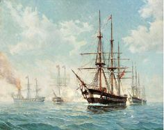 Paul Sinding (1882-1964): The Sea Battle at Helgoland May 9th, 1864