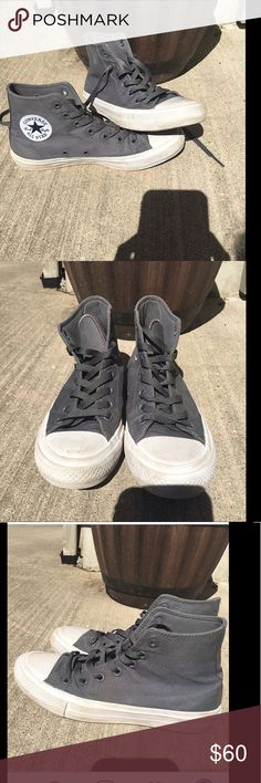 Grey Converse Chuck Taylor's All Star 2's Barely worn, converse do run a little small. Converse Shoes Sneakers