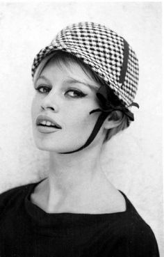 good bardot eye make up, nice neckline for hair up with a little hat