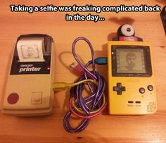 Taking a selfie back then…so funny!!