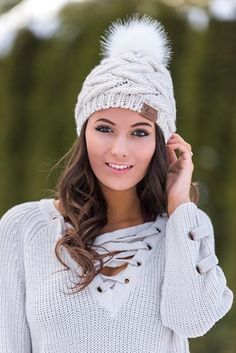 Bobble Knit Boho Love Fur Pom Beanie (Ivory)