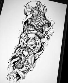 Egypt Tattoo Design, Tattoo Design Drawings, Tattoo Sleeve Designs, Tattoo Sketches, Tattoo Designs Men, Sleeve Tattoos, Black Tattoo Art, Dark Tattoo, Black Tattoos