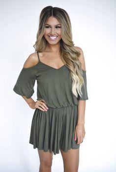 Open Shoulder Romper- Olive - Dottie Couture Boutique