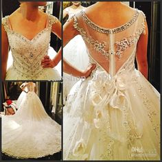Wholesale Fashion Cathedral Wedding gown Beaded crystal beads Applique Organza Wedding dress, Free shipping, $315.01-348.8/Piece | DHgate