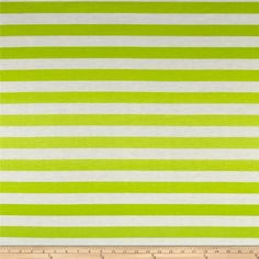 This lightweight polyester jersey knit fabric features a smooth hand and and a 15% stretch across this grain. It is perfect for making t-shirts, loungewear and more! Colors include white and shades of green. Stripes run perpendicular to the selvage.