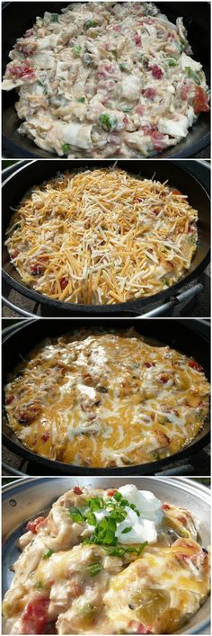 Dude Ranch Chicken - Mix everything together and spoon into your dutch oven. Bake at 350 degrees for 30 minutes, or until bubbling, then top with cheese. Bake for 5 minutes more, or until cheese has melted (mexican shredded chicken oven) Dutch Oven Cooking, Dutch Oven Recipes, Crock Pot Cooking, Dutch Oven Chicken, Think Food, I Love Food, Good Food, Yummy Food, Tasty