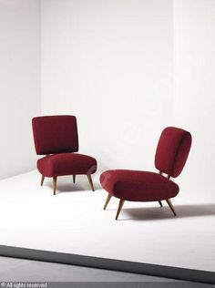 Jean Royere, Oak-Framed Lounge Chairs, c1955.