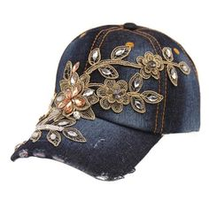 28e0c419e7e Women Fashion Bling Diamond Flower Casual Sport Baseball Cap Jeans Hat