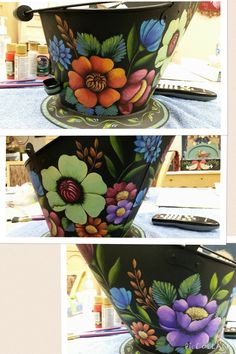 Tole Decorative Paintings, Tole Painting Patterns, Arte Country, Pintura Country, Painted Flower Pots, Painted Pots, Pottery Painting, Pottery Art, Rosemary West