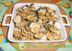 ConDosCucharas.com Berberechos en salsa - ConDosCucharas.com Pretzel Bites, Salsa, Seafood, Stuffed Mushrooms, Bread, Chicken, Vegetables, Cockles, Appetizer Recipes
