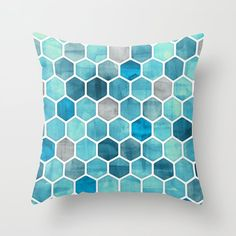 Blue Ink - watercolor hexagon pattern Throw Pillow by micklyn - Cover x with pillow insert - Indoor Pillow Hexagon Pattern, Honeycomb Pattern, Blue Throw Pillows, Decorative Throw Pillows, Throw Blankets, Toss Pillows, Accent Pillows, Moroccan Print, Geometric Throws