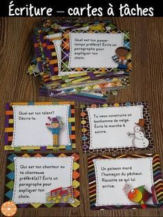 100 task cards for the writing center. Different kinds of texts treated: argumentative, descri. French Teacher, Teaching French, Teaching Writing, Writing Activities, Teaching Resources, Kids Writing, Teaching Ideas, Education And Literacy, Montessori Education