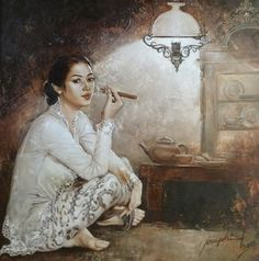 """""""Beauty and Enchantment"""" – solo exhibition by Josephine Linggar, Indonesian painter - Singapore Art Gallery Guide Indonesian Women, Indonesian Art, Bali Painting, Woman Painting, Laos, Singapore Art, Realism Art, Art Festival, New Artists"""