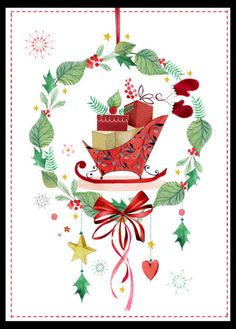 Victoria Nelson - Elegant Christmas Wreath Sleigh Alternative Copy Modern Christmas Cards, Christmas Scenes, Elegant Christmas, Christmas Photo Cards, Christmas Pictures, Christmas Art, Christmas Greetings, Vintage Christmas, Christmas Wreaths