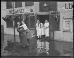 Storm floods T-wharf. 1937. Boston Public Library via Flickr.