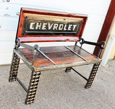 Chevy Truck Tailgate Bench Made with Chain Custom Welded Metal Garden Outdoor, Upcycled Recycled Repurposed by Recycled Salvage