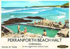 Cornwall Coast, Cornwall Beaches, Vintage Advertising Posters, Vintage Travel Posters, Retro Posters, Art Posters, Villages In Uk, Tourism Poster, Beach Posters