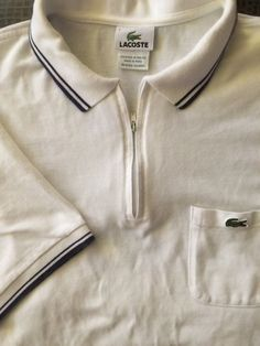 0ae00717906e51 Men LACOSTE White Blue 7 X-Large Polo Zip Shirt Banded Hem at Sleeve and
