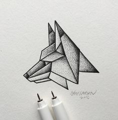 Lines and dots make up this simple geometric fox. Illustration by Dotted Drawings, Cool Art Drawings, Pencil Art Drawings, Easy Drawings, Art Sketches, Simple Sketches, Geometric Fox, Geometric Drawing, Marshmello Wallpapers