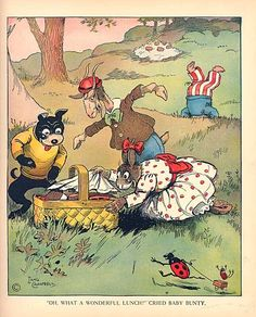Vintage 1925 Animals Picnic Illustration Print by Lang Campbell from Uncle…