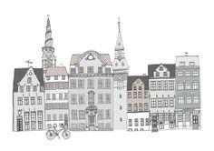 Copenhagen Cityscape A4 Illustration Print by helenacarrington