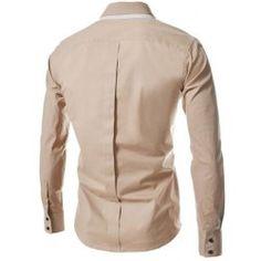 Turn-Down Collar Double-Layered Design Long Sleeve Slimming Men's Shirt - Khaki - 2xl - KHAKI 2XL