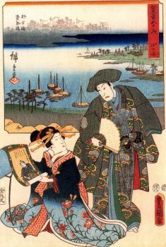 Yokkaichi (117 pieces) Utagawa Hiroshige , Woodcut, 1854, Edo Period, 35,5 x 24,6 cm. Image copyright: Ciudad de la Pintura